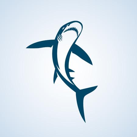 shark cartoon: Tiburón sobre un fondo blanco. Gran ejemplo blanco emblema signo de tiburón en el fondo blanco. Vectores