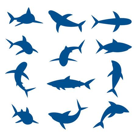 fish icon: Set of big sharks blue silhouettes. illustration. Illustration
