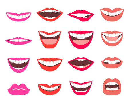 dentures: Funny smiles set. A set of funny smiling female and male mouths in various facial expressions. Illustration