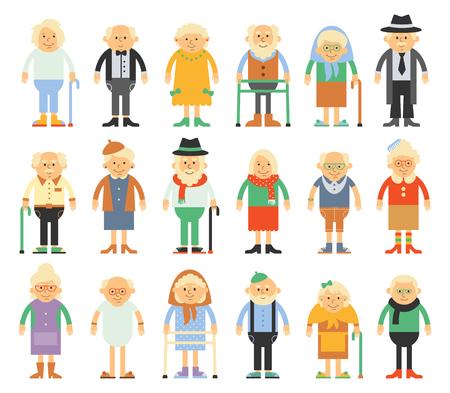 abuela: conjunto de caracteres en un estilo plano. Las personas mayores con trajes diferentes. Abuelos en estilo plano de dibujos animados.