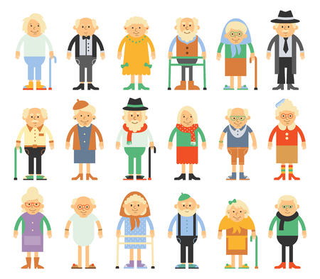 aging woman: set of characters in a flat style. Older people in different costumes. Grandparents in cartoon flat style.