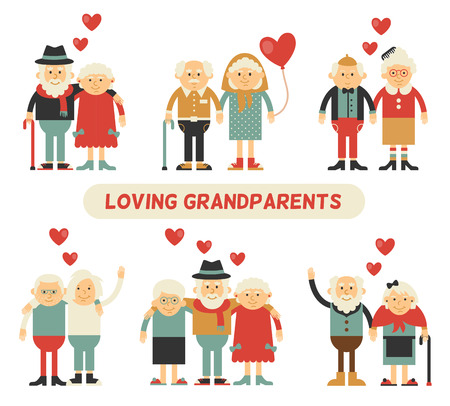 marriage cartoon: A couple in love grandparents. Happy together. Celebrate Valentines Day. Set of isolated flat icons.