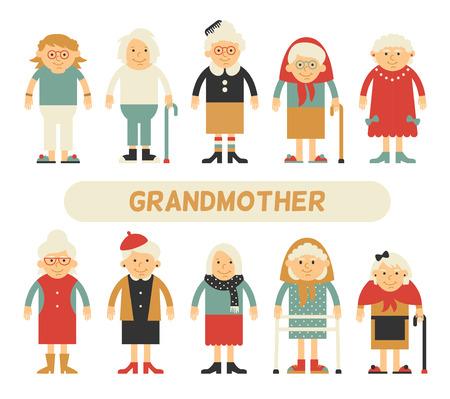 フラット スタイルの文字セット。漫画のキャラクターの高齢者。別の服と異なるスタイルのおばあちゃん