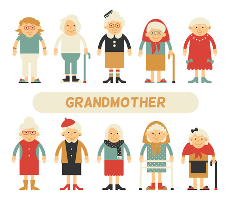 grandpa and grandma: set of characters in a flat style. Cartoon characters elderly. Grandmothers in different clothes and different styles