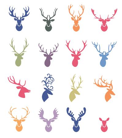 cuernos: Astas del reno de la ilustración. cuernos de venado ajustada de la etiqueta.
