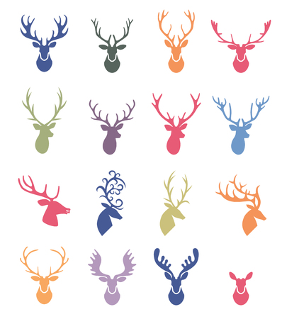 Reindeer Antlers Illustration . Deer horns label set.