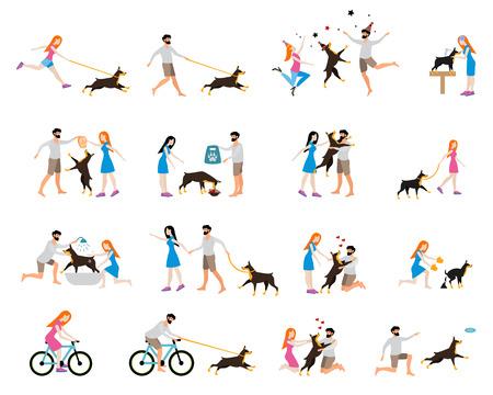 treats: profesional de perros para caminar. El cuidado de un perro doberman, lavar al perro, limpiar los excrementos, la alimentación, la reproducción y caminar, montar en bicicleta con un perro. Chica para entrenar y cuidar a un perro. estilo plano.