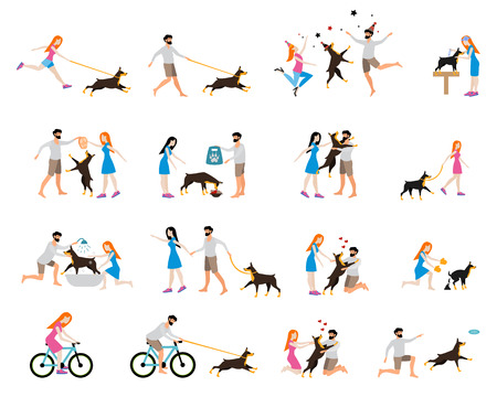 Professional dog walking. Caring for a dog doberman, washing the dog, clean up the excrements, feeding, playing and walking, cycling with a dog. Girl to train and care for a dog. Flat style. Stock Illustratie