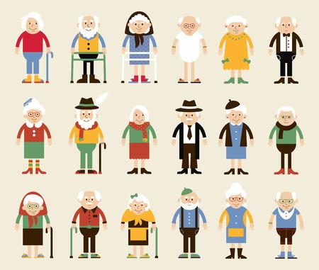anciano: conjunto de caracteres en un estilo plano. Felices abuelos. ilustración de estilo de dibujos animados. Abuelos en la posición de pie en ropa diferente.