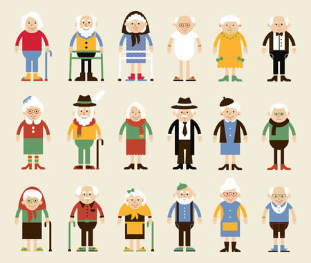 In einem flachen Stil der Zeichen gesetzt. Glückliche Großeltern. Abbildung im Cartoon-Stil. Großeltern in der stehenden Position in verschiedenen Kleidern. Standard-Bild - 54326451