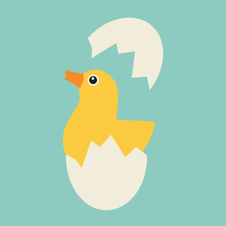 cartoon egg: Chicken hatches from the egg. Sweet yellow easter chicken sitting waiting for easter.