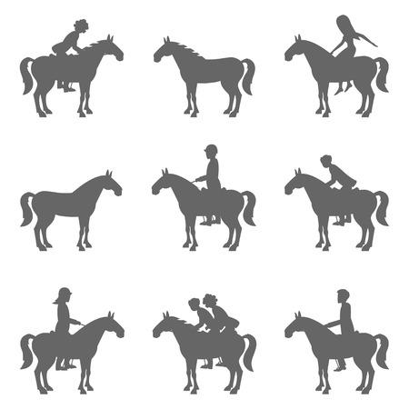 Racing horses and jockeys silhouettes
