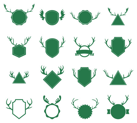 stag: Badges with deer horns on white background