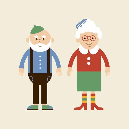 Schöne älteres Ehepaar. Vector alte Dame und alter Mann in der modernen Wohnung Design.