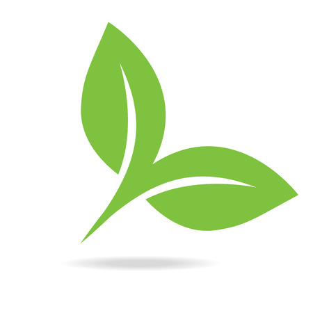 simple purity flowers: Eco icon green leaf illustration isolated. Leaf Icon.