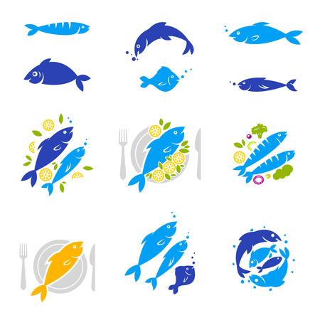 Ensemble d'étiquettes de restaurant vintage vintage et moderne. Icônes de poisson. Vecteurs