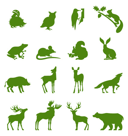 Forest animals collection. set of figures of wild animals. Silhouettes wild animals isolated on white. Black wild animals. Emblems, silhouettes and design elements.