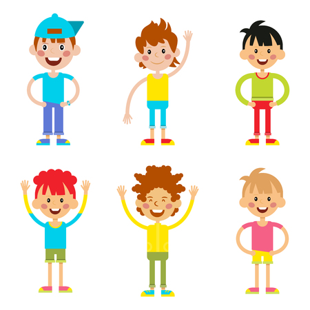 active lifestyle: Set cute happy cartoon boys characters childhood young active lifestyle illustration. Cartoon boys character and set cartoon boys active lifestyle. Cartoon boys smiling, childhood friendship. Illustration