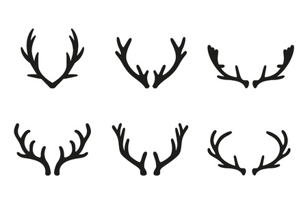 deer antlers black icons set. Deer design elements. Set of deer horn. Set of the labels, emblems, badge templates and design elements.