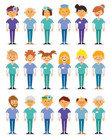 medical team: Doctors and nurses and medical staffs flat design icon set. Medical team. Group of hospital workers illustration.