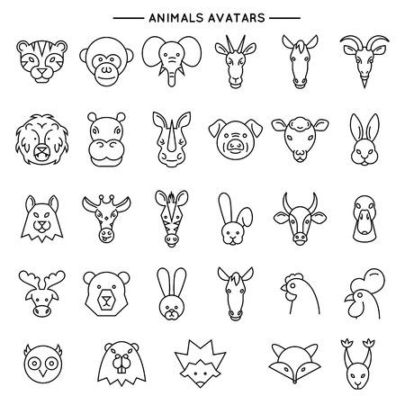 squirrel monkey: Animal heads in thin line style icons set  illustration. line set of domestic, farm and wild animals.