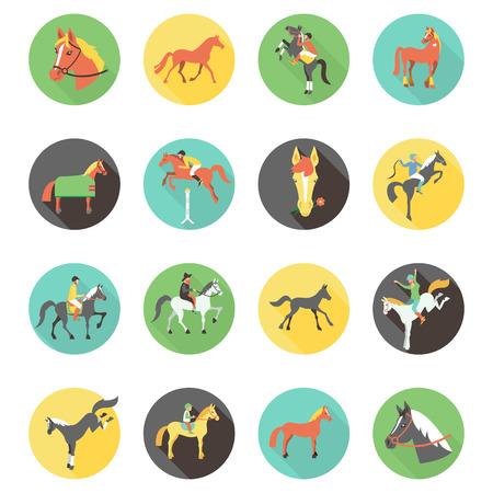 corse di cavalli: Icone del cavallo impostate. cavalli selvaggi.