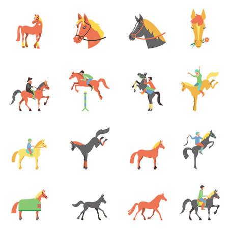 jumping fence: iconos conjunto sobre fondo blanco con accesorios para montar a caballo y aisladas deporte ecuestre ilustración. Vectores