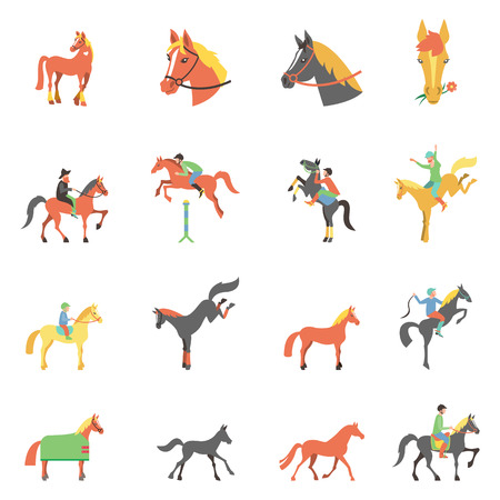 icons set on white background with accessories for horse riding and equestrian sport isolated illustration. Stock Illustratie