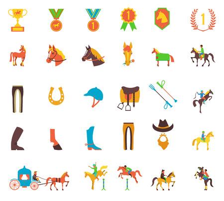 corse di cavalli: set di icone su sfondo bianco con accessori per l'equitazione e sport equestri isolato illustrazione.