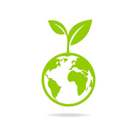緑の葉し、地球エコのアイコン、モックアップは、惑星を保存します。