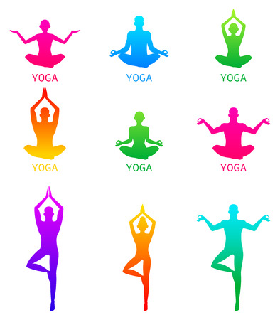 icons of woman silhouettes in yoga poses.