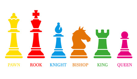 Set of named chess piece icons colored silhouettes on white showing the king queen rook bishop knight and pawn. Illustration