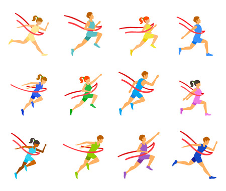 people traveling: Winning Champion concept - illustration. Running marathon. People traveling to the red finish line. Illustration