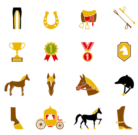 riding boot: Horse Icons Set. Illustration