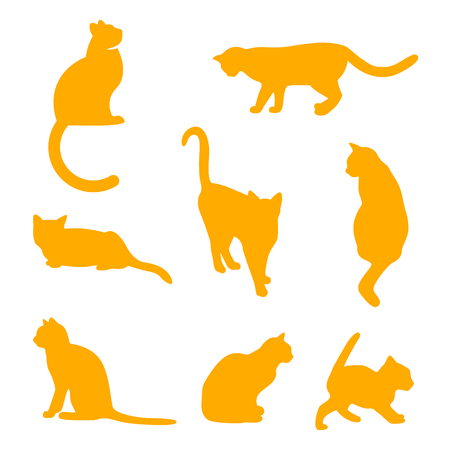 black cats illustration isolated on white. Ilustração