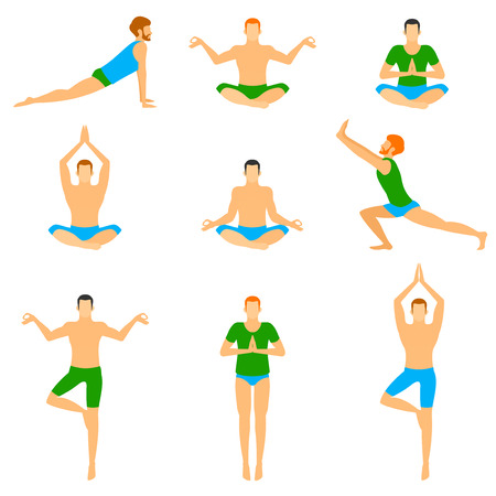 Set with a handsome man in various poses of yoga. Healthy lifestyle.
