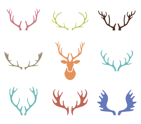 Set of hand drawn deer horns on the white background. Silhouettes of deer antlers.