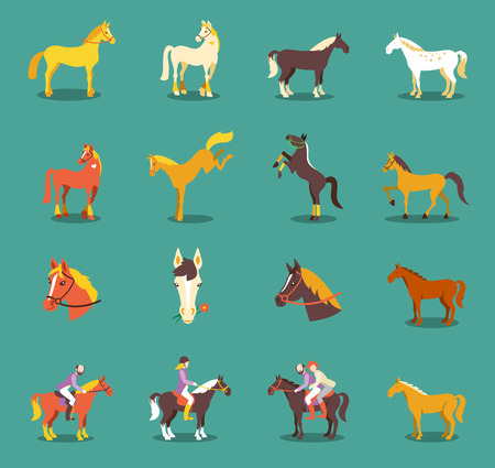 Group of the horses isolated on the blue background. Cute cartoon horse farm animals. Stock Illustratie
