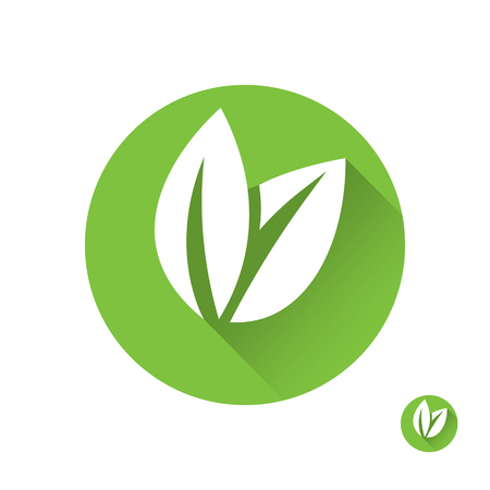 Flat leaves icons. Green leaf ecology emblem isolated .