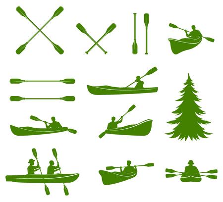 canoe: Canoe silhouettes. Rafting.