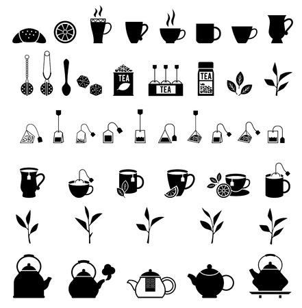 tea ceremony: black tea icons set. Tea ceremony concept illustration. Isolated on white background.