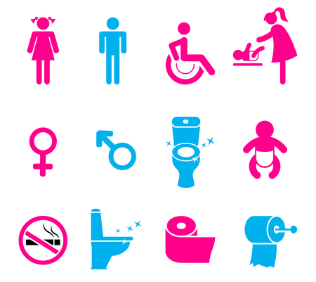 toilette: toilet icons set isolated on white background. Bathroom icons.