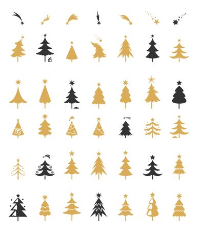 decorative objects: Christmas tree silhouette design. Greetings set with isolated decorative winter objects.