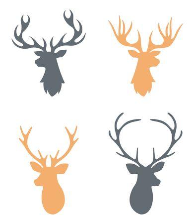 deer skull: Hipster Hand drawn vintage label with a reindeer.