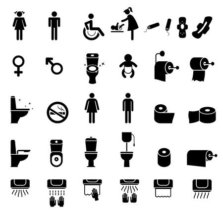toilet seat: People icon set.