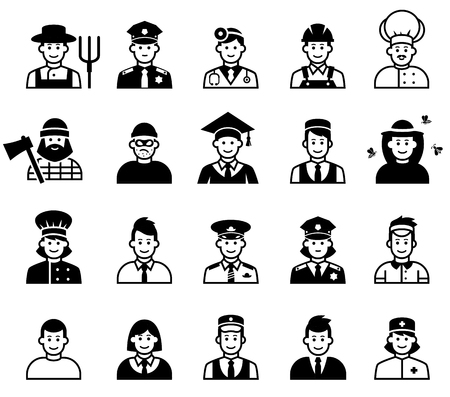 occupations: Avatar and People occupations icons. Human resources. Illustration