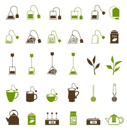 커피와 차 컵 아이콘입니다. 찻 주전자와 차 가방, 다도. 신선한 차와 녹색 잎.