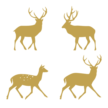 Christmas reindeer silhouettes. Vector illustration isolated on white background.