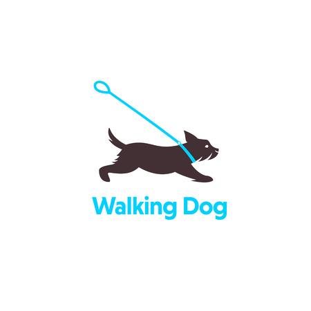design for dog walking, training or dog related business. Isolated on white background.