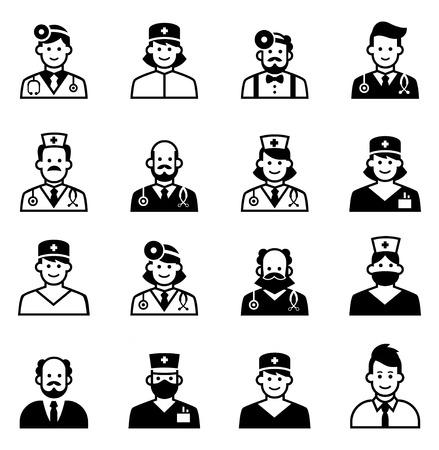 chirurgo: Insieme dell'icona del medico. Clinica Medica icona personale avatar di medici, infermieri, chirurgo, assistente, paziente. Il personale ospedaliero volti multirazziale. insieme di isolati su sfondo bianco.